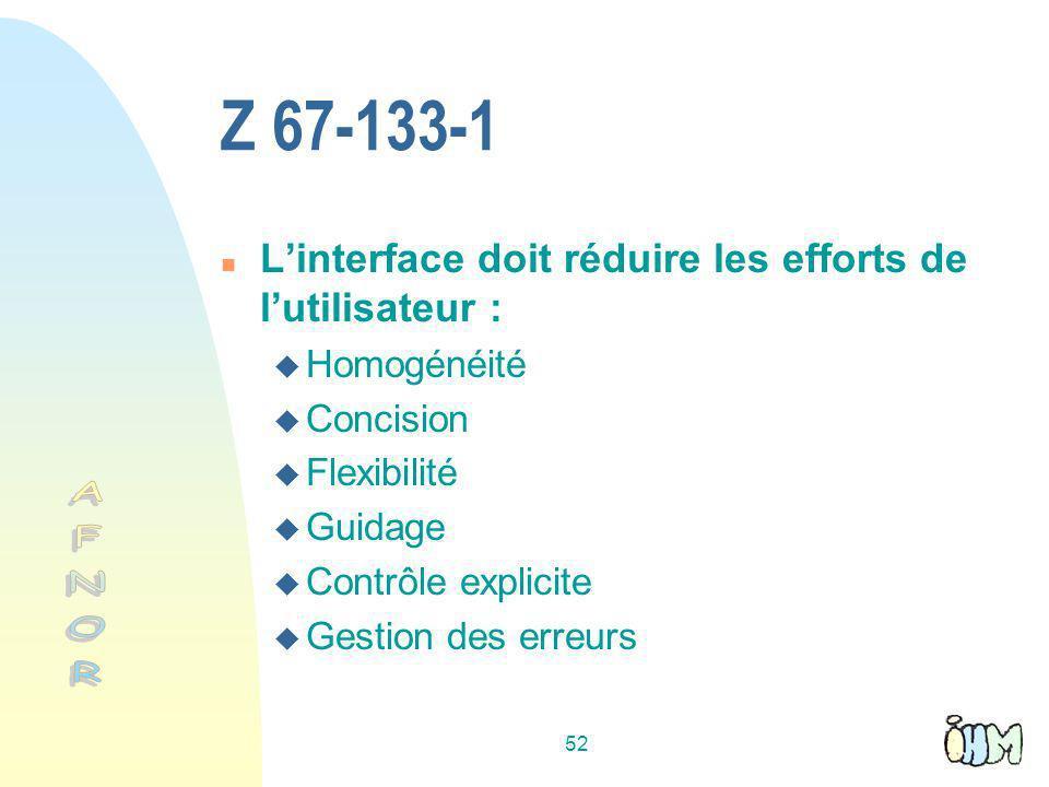 Z 67-133-1 L'interface doit réduire les efforts de l'utilisateur : Homogénéité. Concision. Flexibilité.