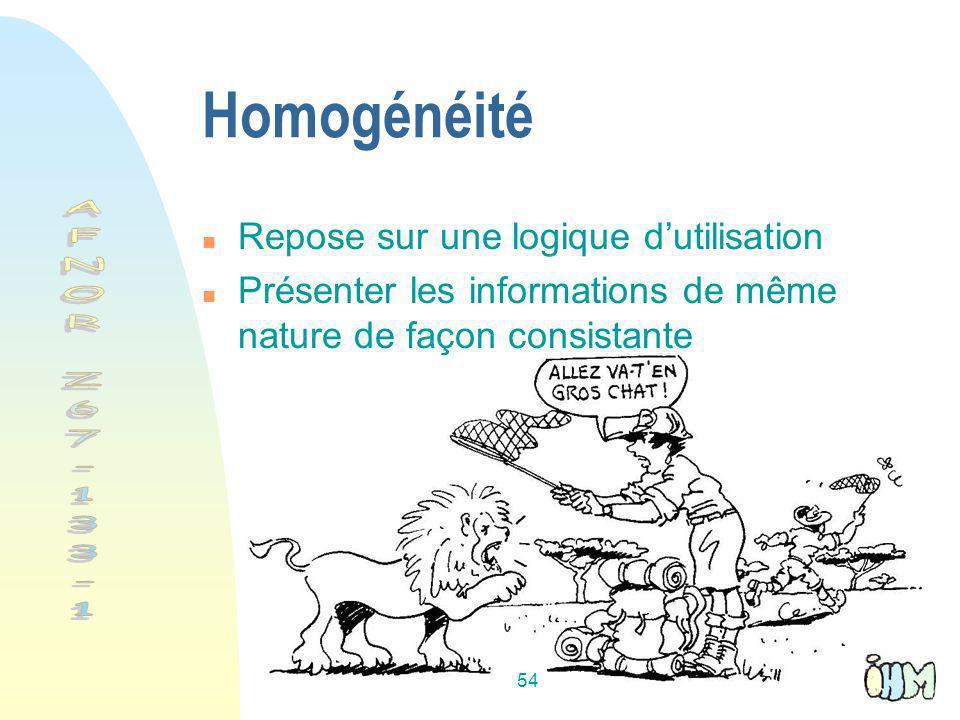 Homogénéité AFNOR Z67-133-1 Repose sur une logique d'utilisation