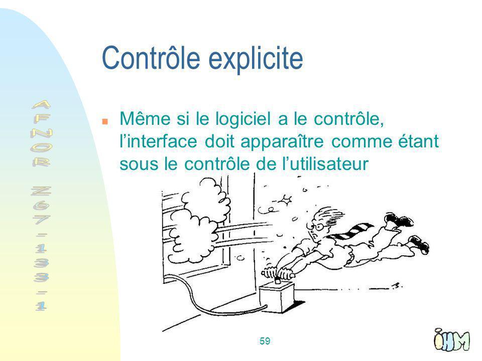 Contrôle explicite AFNOR Z67-133-1