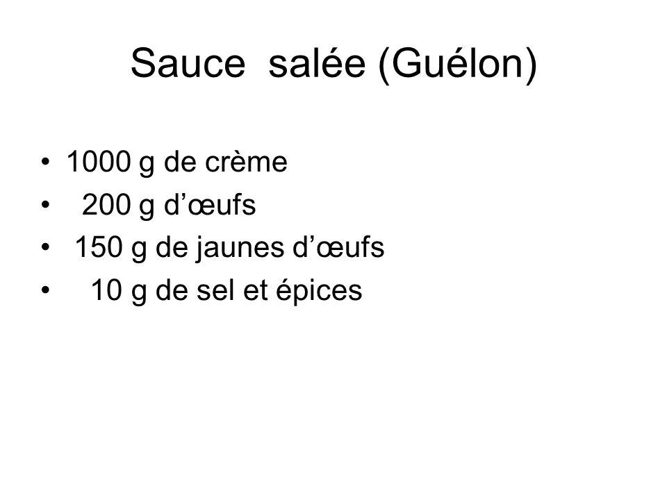 Sauce salée (Guélon) 1000 g de crème 200 g d'œufs