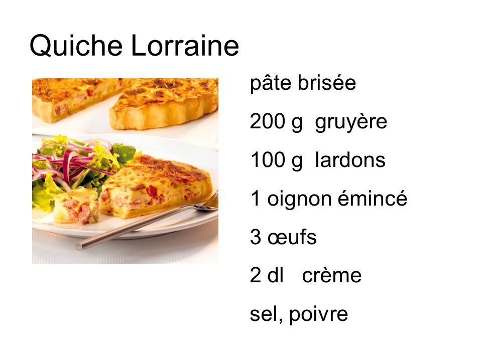 Quiche Lorraine pâte brisée 200 g gruyère 100 g lardons