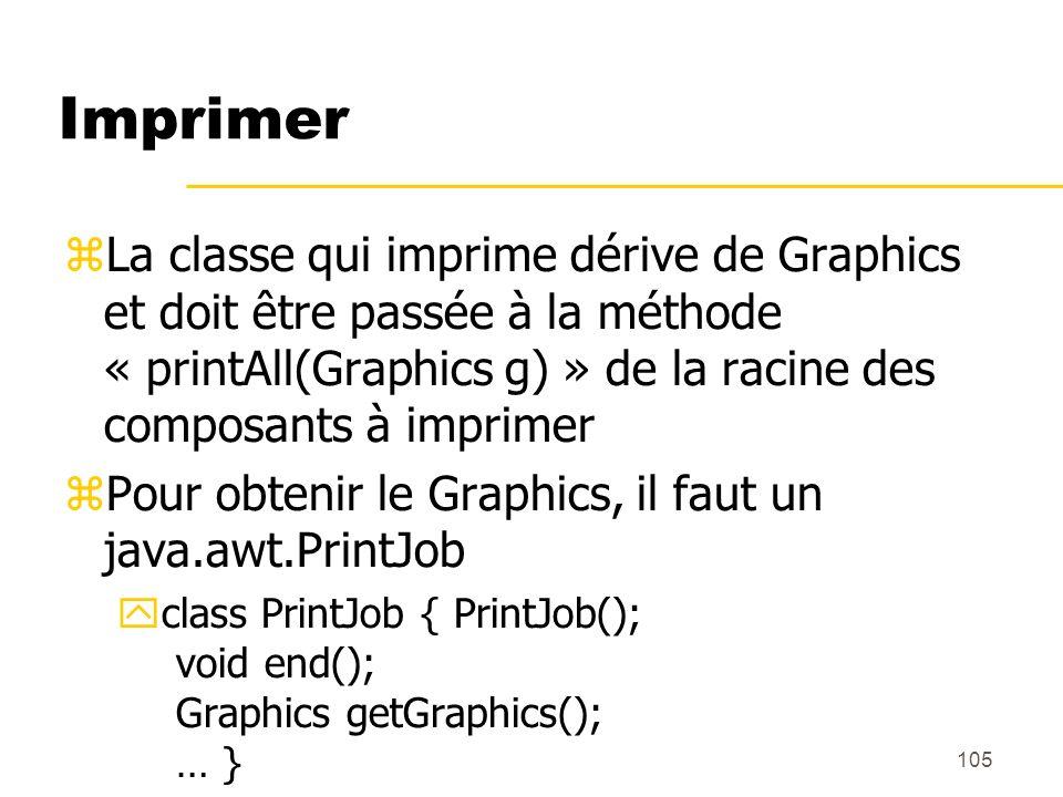 ImprimerLa classe qui imprime dérive de Graphics et doit être passée à la méthode « printAll(Graphics g) » de la racine des composants à imprimer.