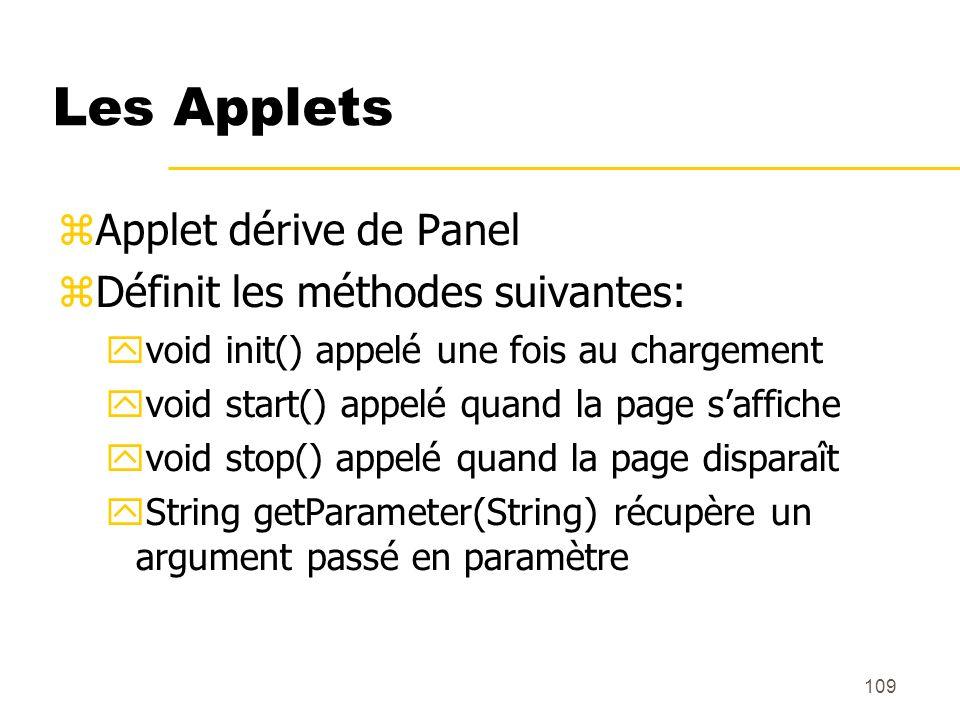 Les Applets Applet dérive de Panel Définit les méthodes suivantes: