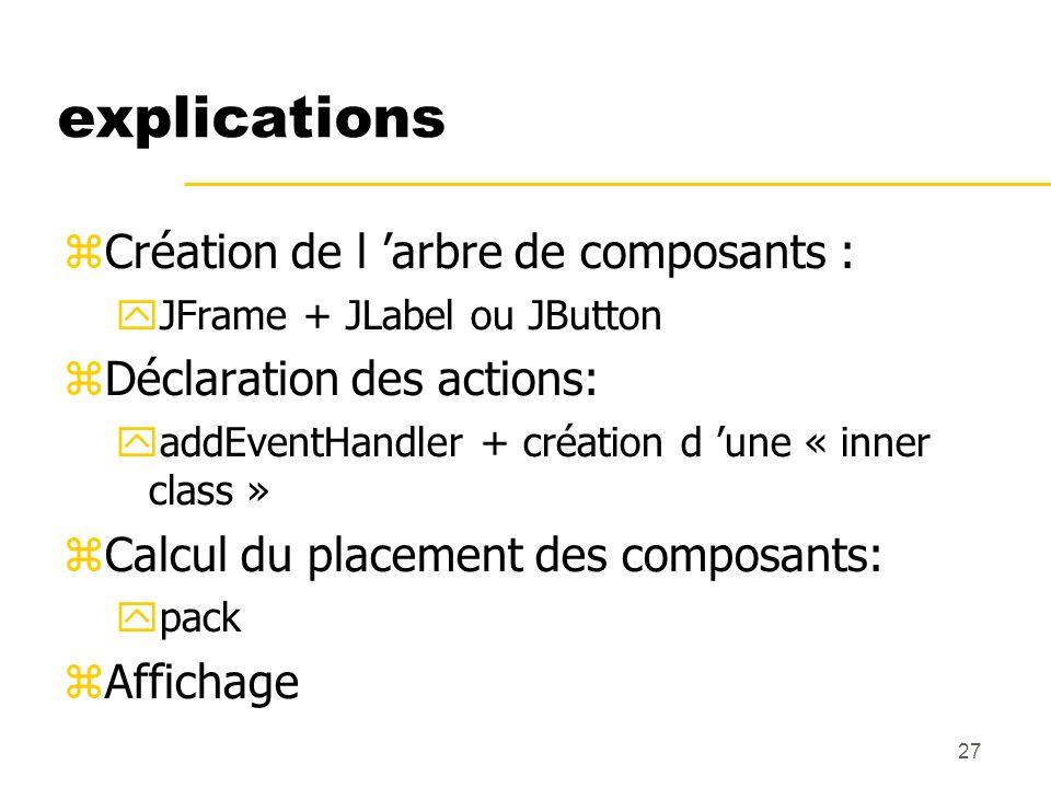 explications Création de l 'arbre de composants :
