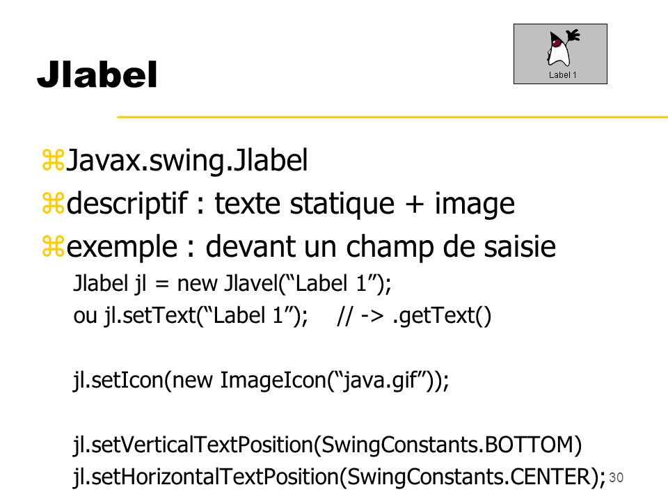 Jlabel Javax.swing.Jlabel descriptif : texte statique + image