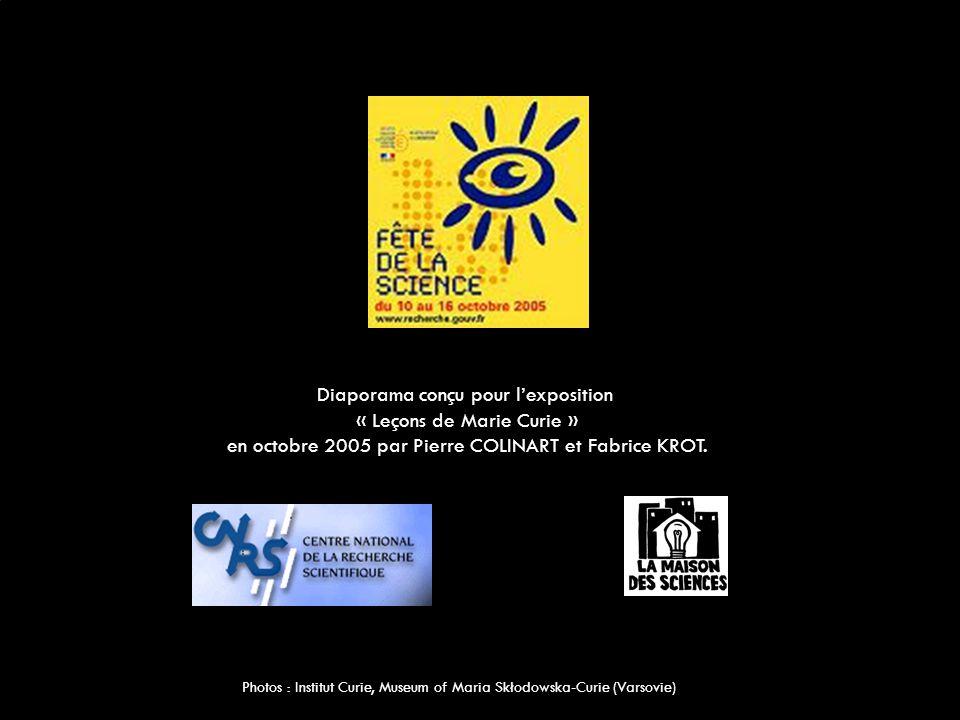 Diaporama conçu pour l'exposition « Leçons de Marie Curie »