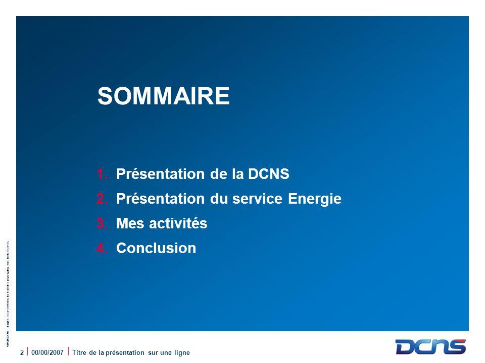 SOMMAIRE Présentation de la DCNS Présentation du service Energie