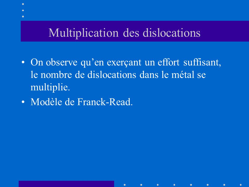 Multiplication des dislocations