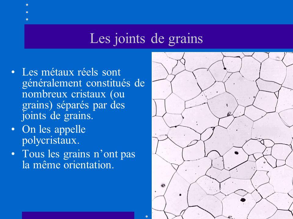 Les joints de grains Les métaux réels sont généralement constitués de nombreux cristaux (ou grains) séparés par des joints de grains.