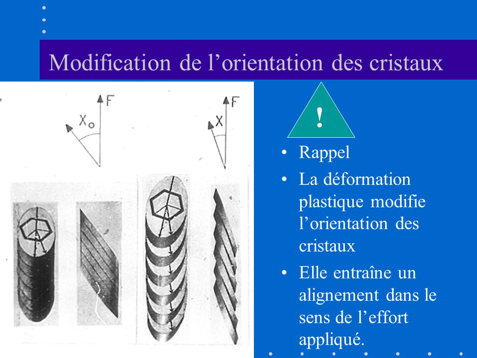 Modification de l'orientation des cristaux
