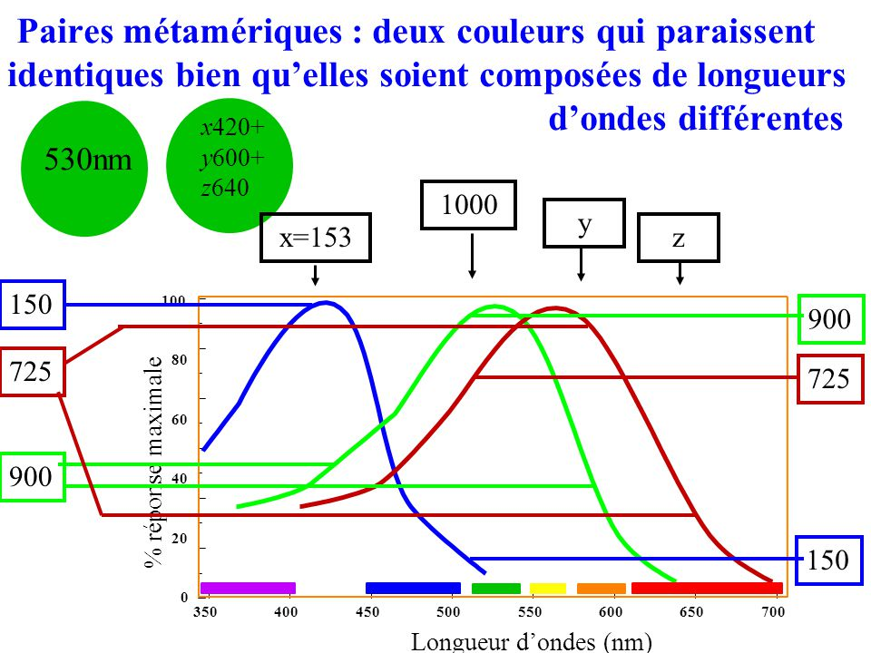 Paires métamériques : deux couleurs qui paraissent identiques bien qu'elles soient composées de longueurs d'ondes différentes
