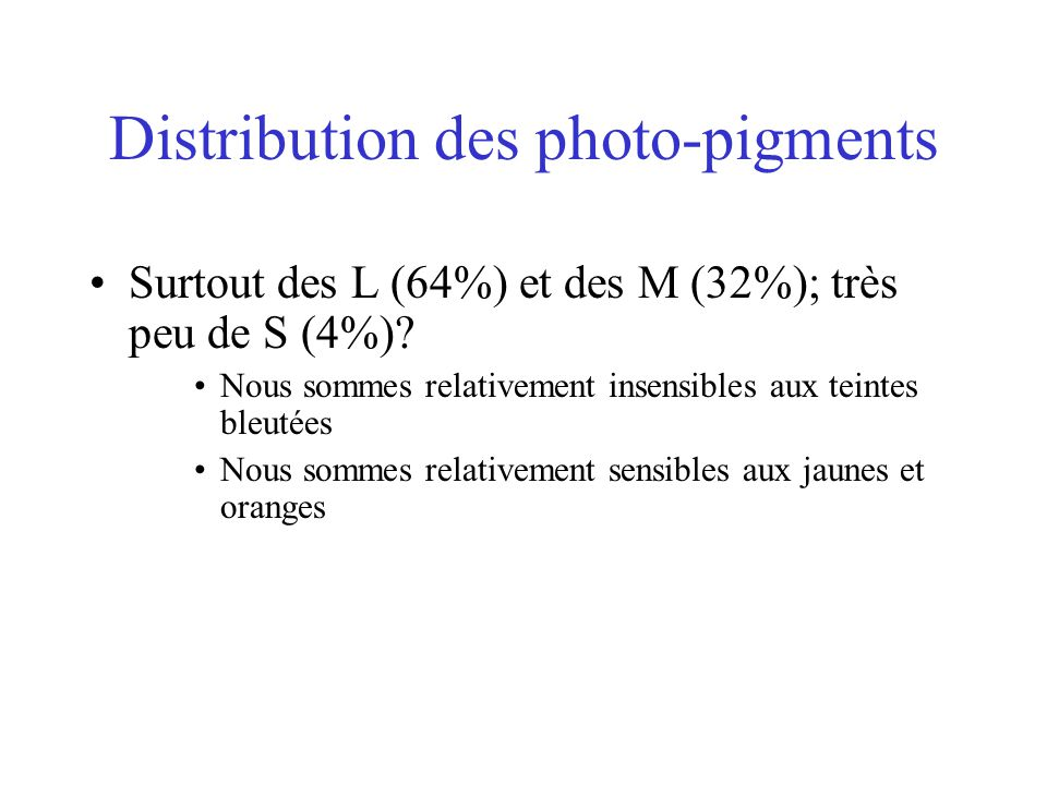 Distribution des photo-pigments