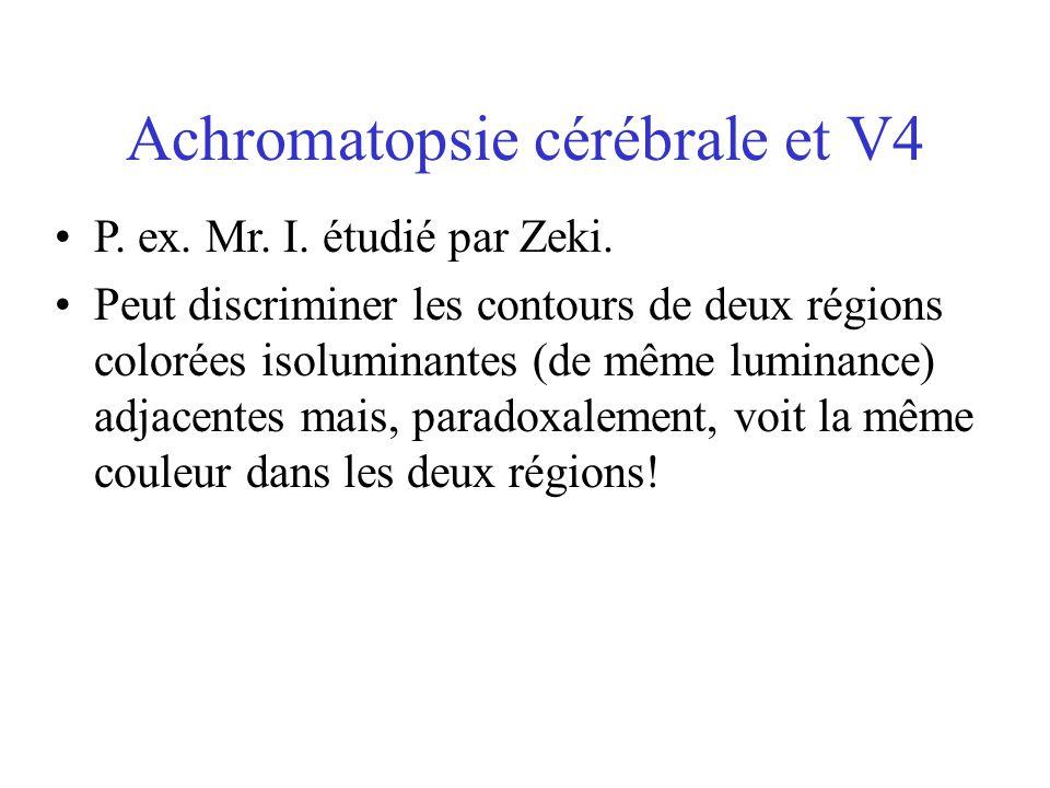 Achromatopsie cérébrale et V4
