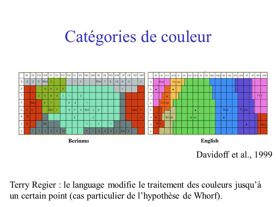 Catégories de couleur Davidoff et al., 1999