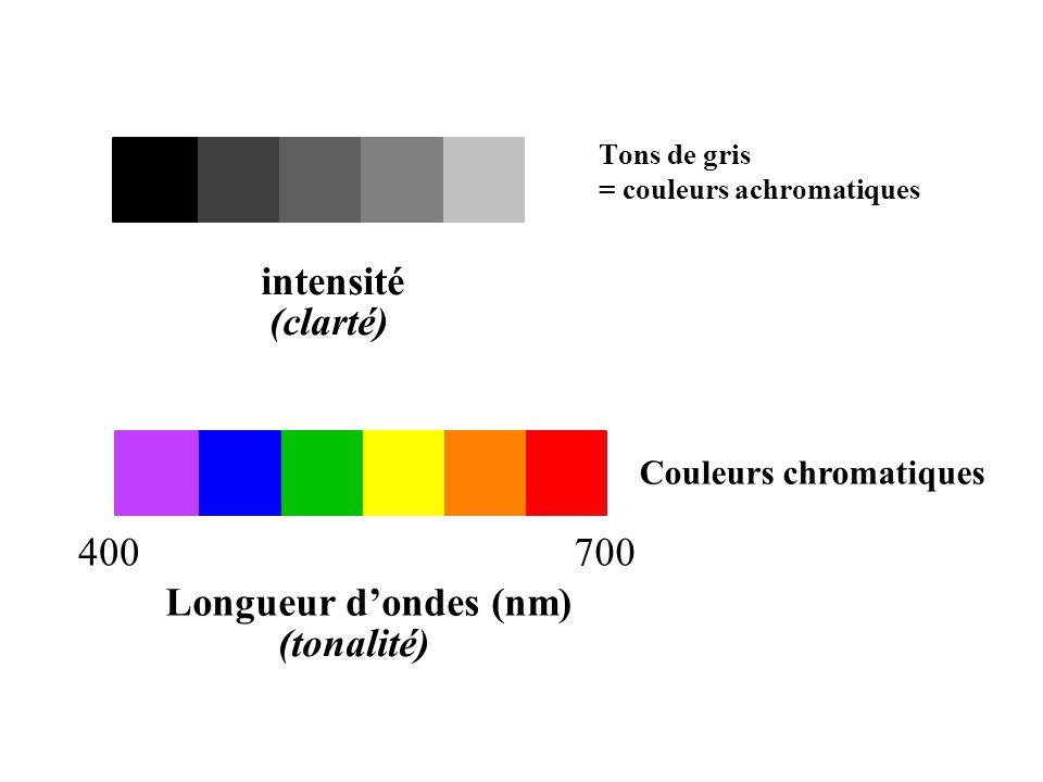 intensité (clarté) 400 700 Longueur d'ondes (nm) (tonalité)