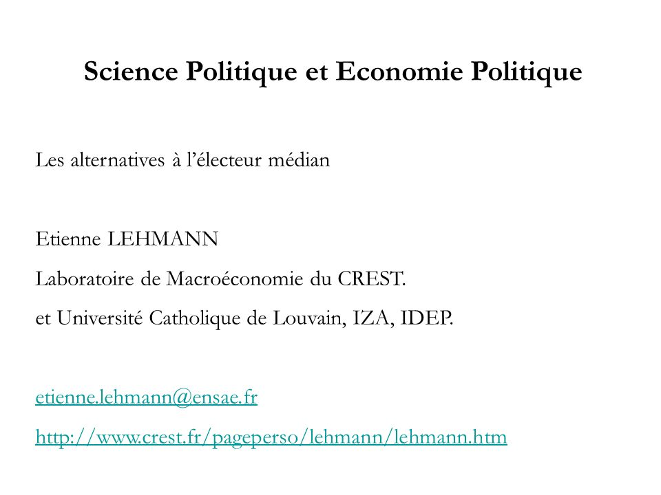 Science Politique et Economie Politique