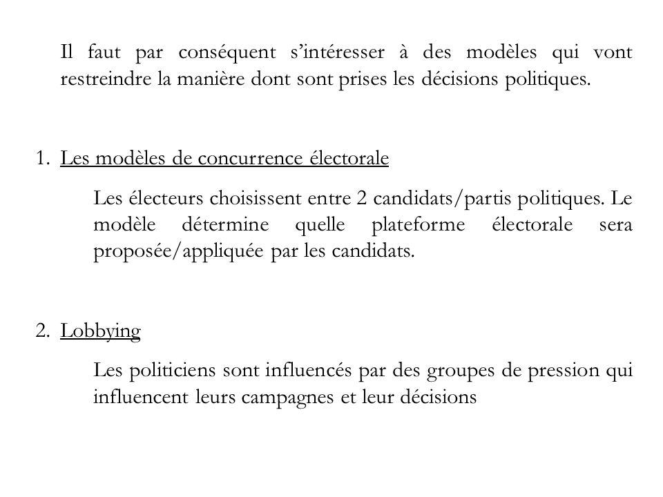 Il faut par conséquent s'intéresser à des modèles qui vont restreindre la manière dont sont prises les décisions politiques.