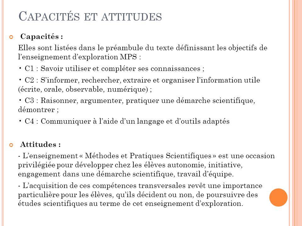 Capacités et attitudes