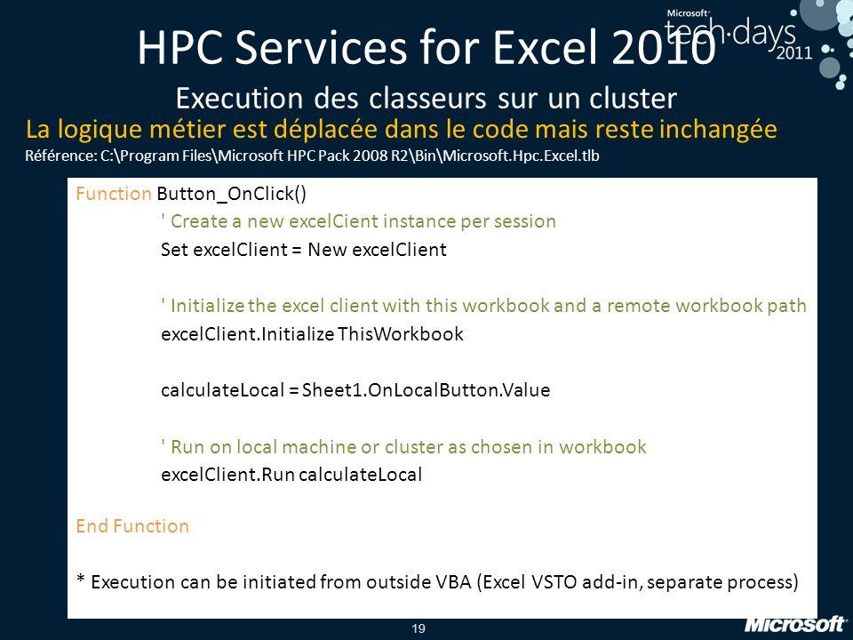 HPC Services for Excel 2010 Execution des classeurs sur un cluster