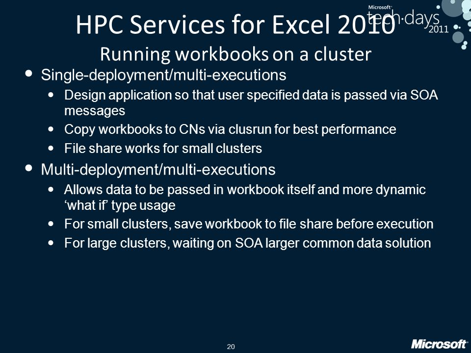 HPC Services for Excel 2010 Running workbooks on a cluster