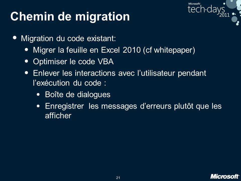 Chemin de migration Migration du code existant: