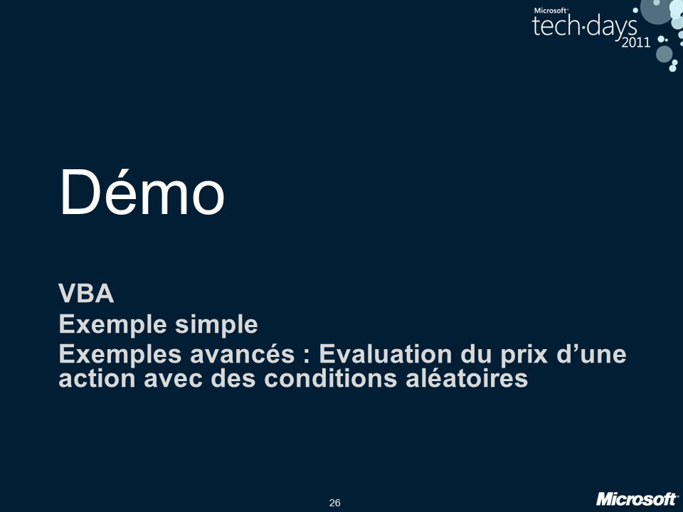 Démo VBA Exemple simple