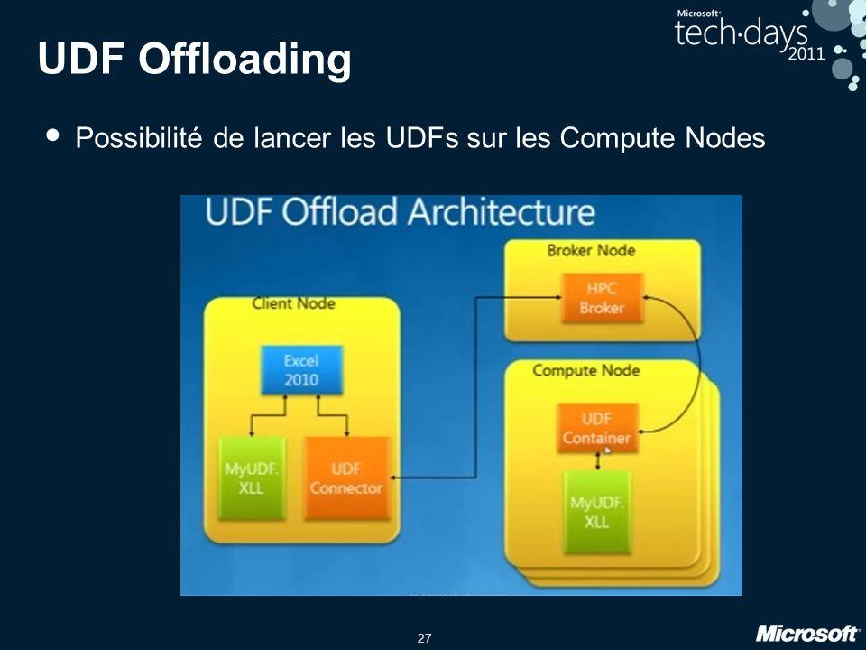 UDF Offloading Possibilité de lancer les UDFs sur les Compute Nodes
