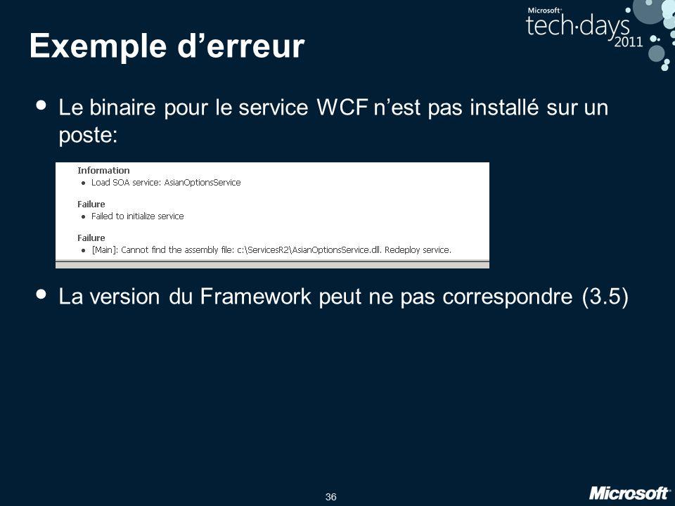 Exemple d'erreur Le binaire pour le service WCF n'est pas installé sur un poste: La version du Framework peut ne pas correspondre (3.5)