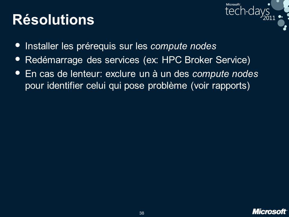 Résolutions Installer les prérequis sur les compute nodes
