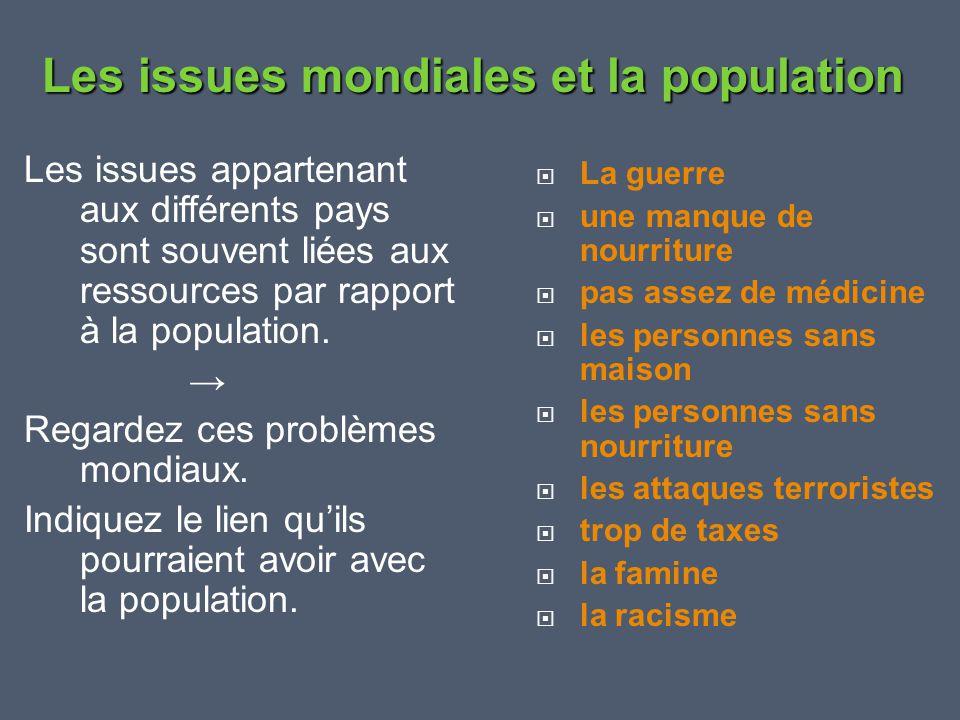 Les issues mondiales et la population
