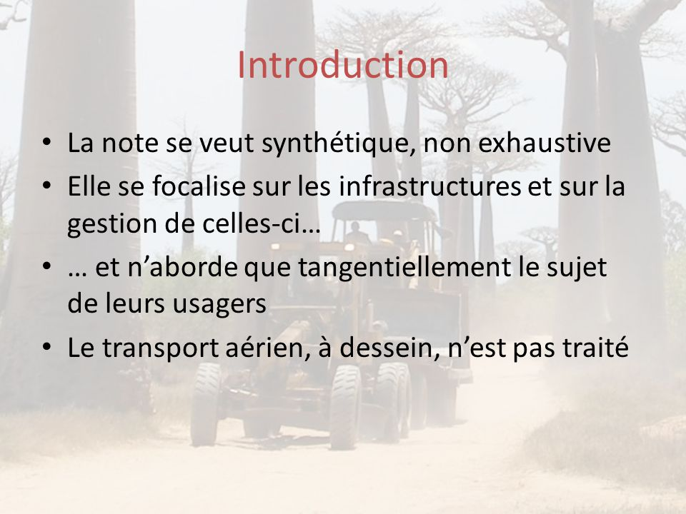Introduction La note se veut synthétique, non exhaustive
