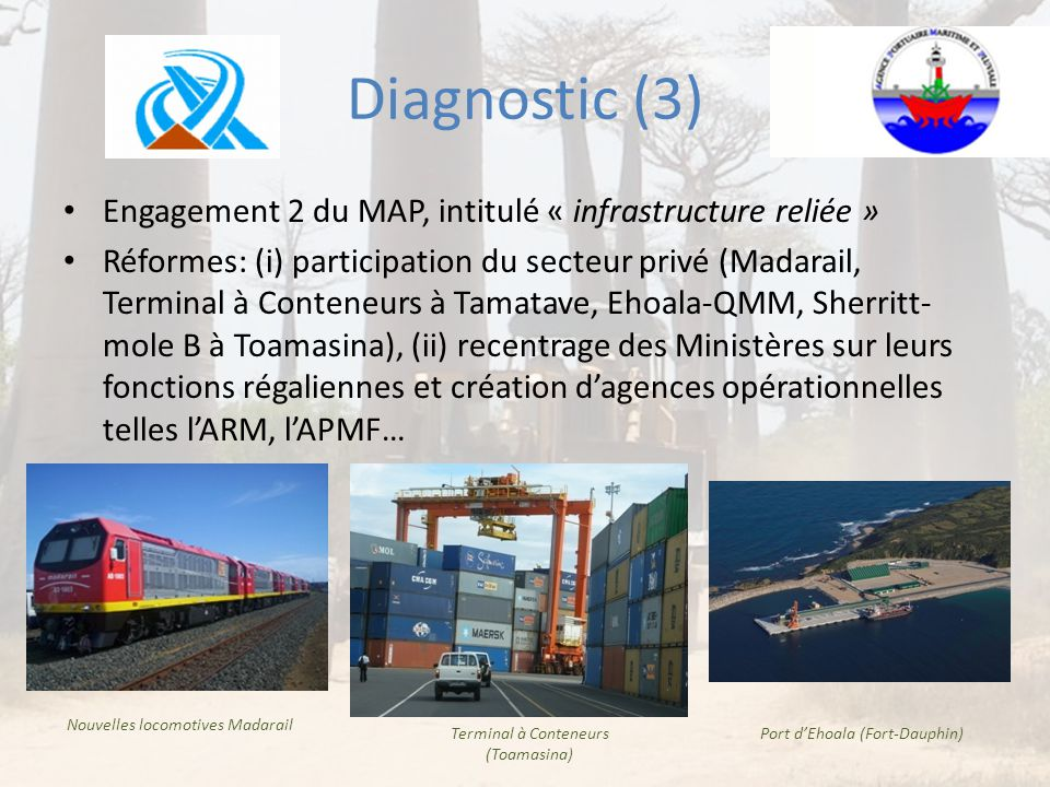 Diagnostic (3) Engagement 2 du MAP, intitulé « infrastructure reliée »