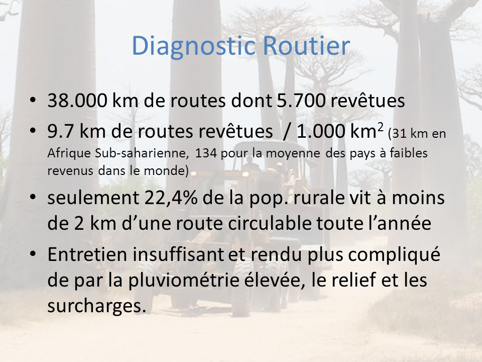 Diagnostic Routier 38.000 km de routes dont 5.700 revêtues