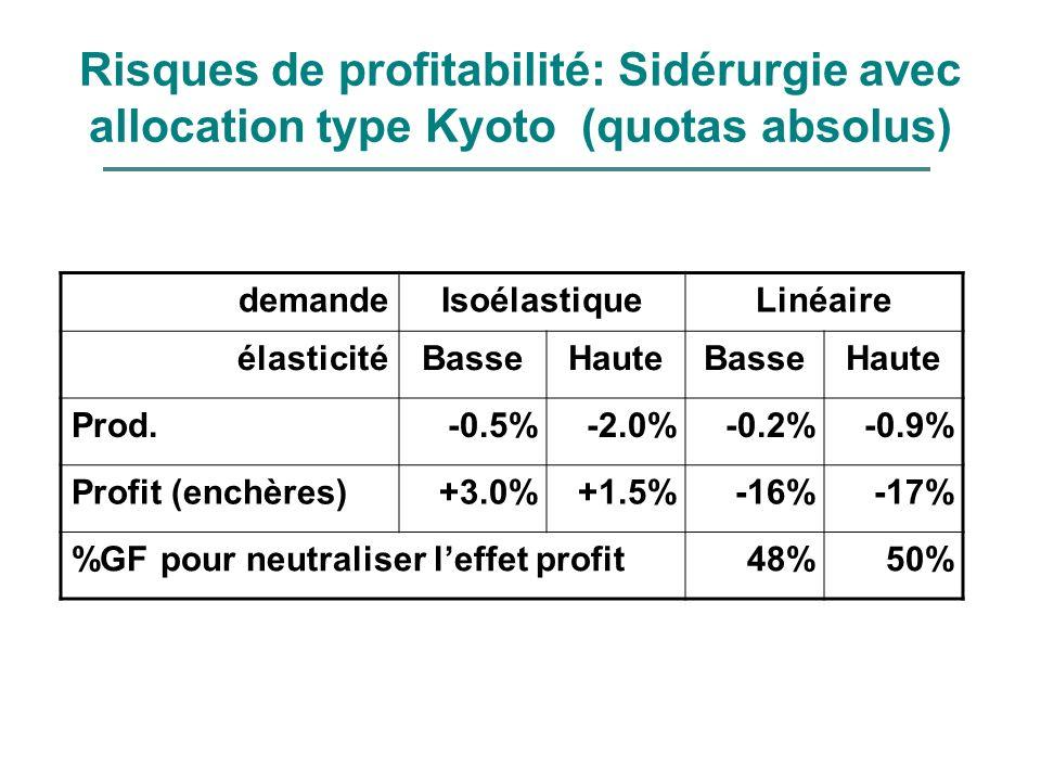 Risques de profitabilité: Sidérurgie avec allocation type Kyoto (quotas absolus)