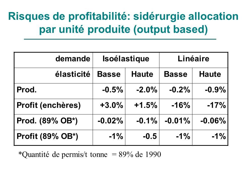 Risques de profitabilité: sidérurgie allocation par unité produite (output based)