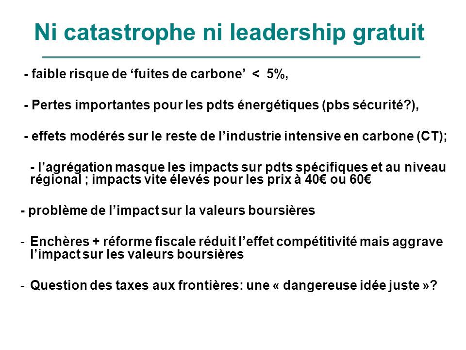 Ni catastrophe ni leadership gratuit