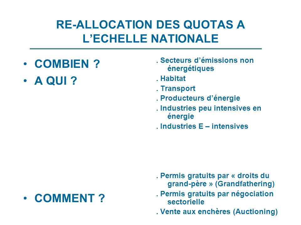 RE-ALLOCATION DES QUOTAS A L'ECHELLE NATIONALE