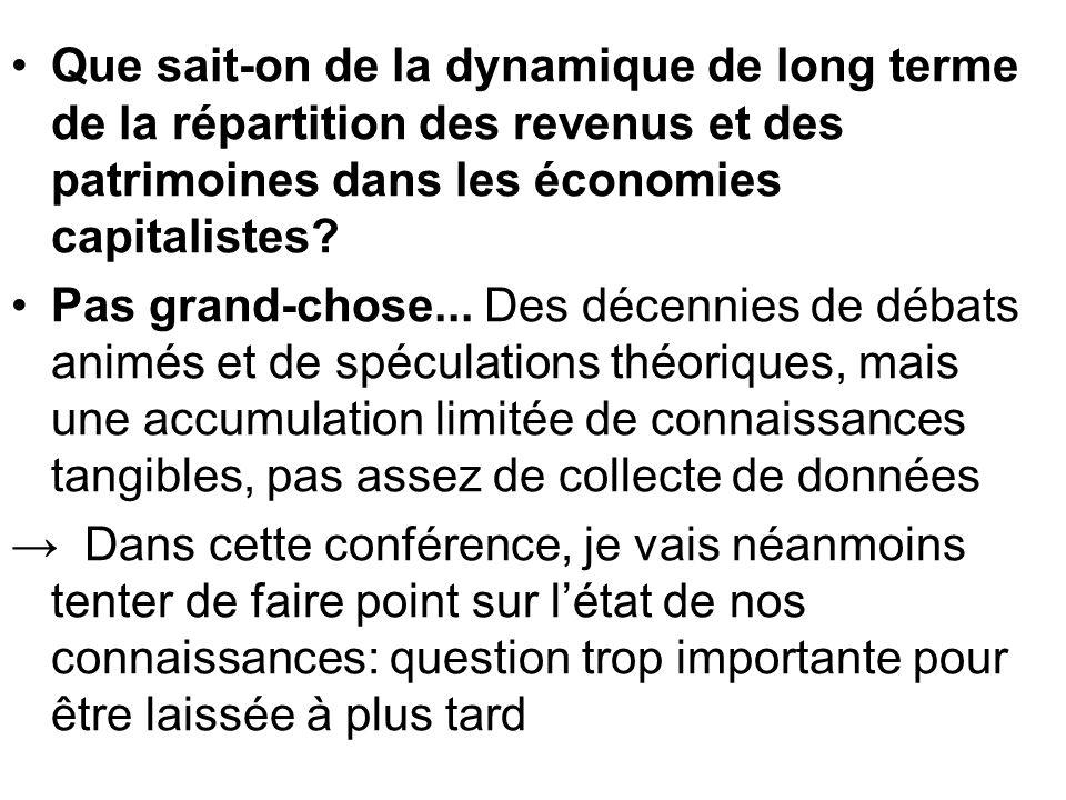Que sait-on de la dynamique de long terme de la répartition des revenus et des patrimoines dans les économies capitalistes