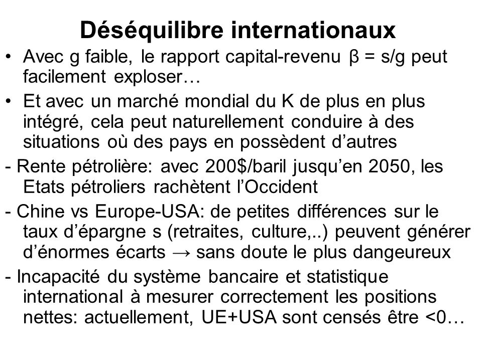 Déséquilibre internationaux