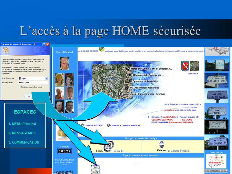 L'accès à la page HOME sécurisée