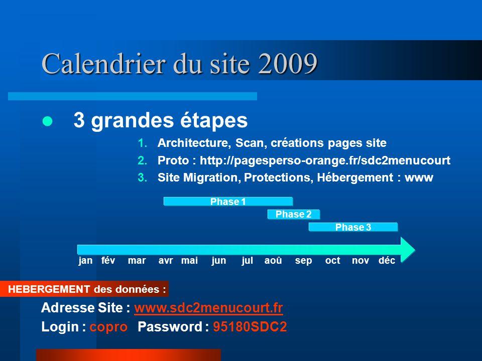 Calendrier du site 2009 3 grandes étapes