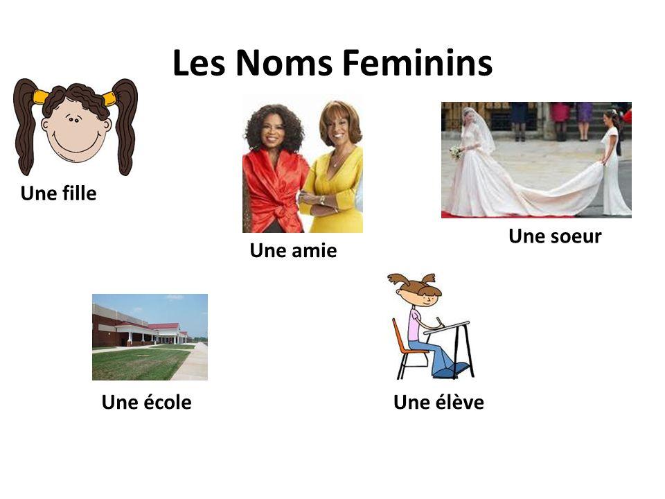 Les Noms Feminins Une fille Une soeur Une amie Une école Une élève
