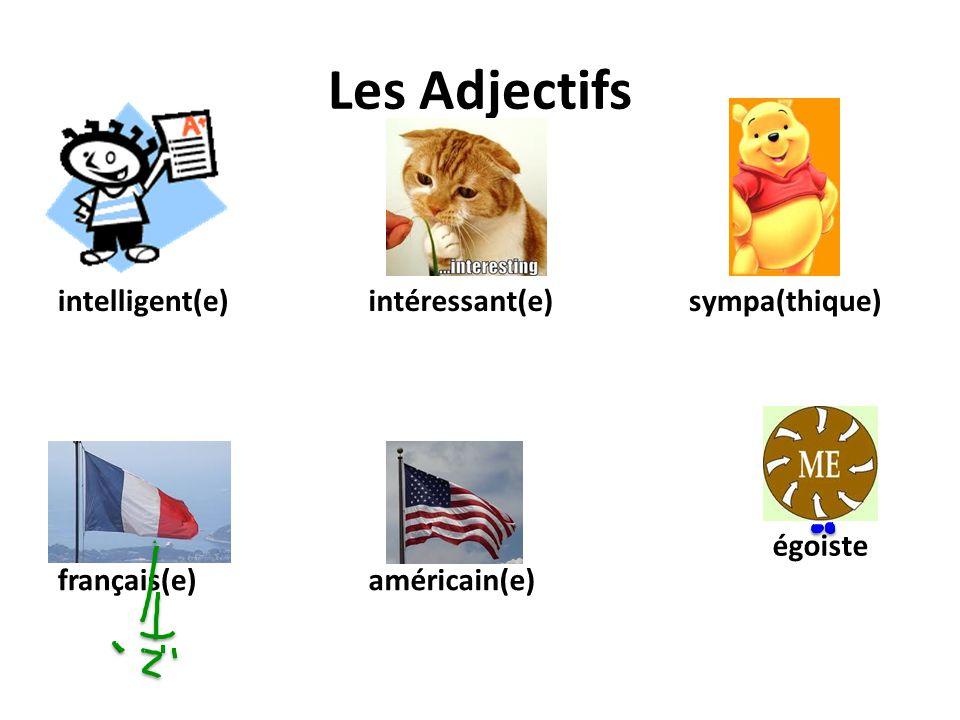 Les Adjectifs intelligent(e) intéressant(e) sympa(thique) égoiste