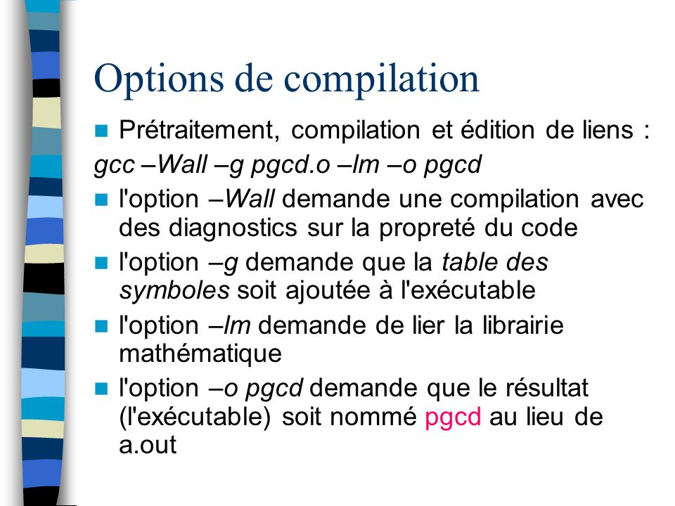 Options de compilation