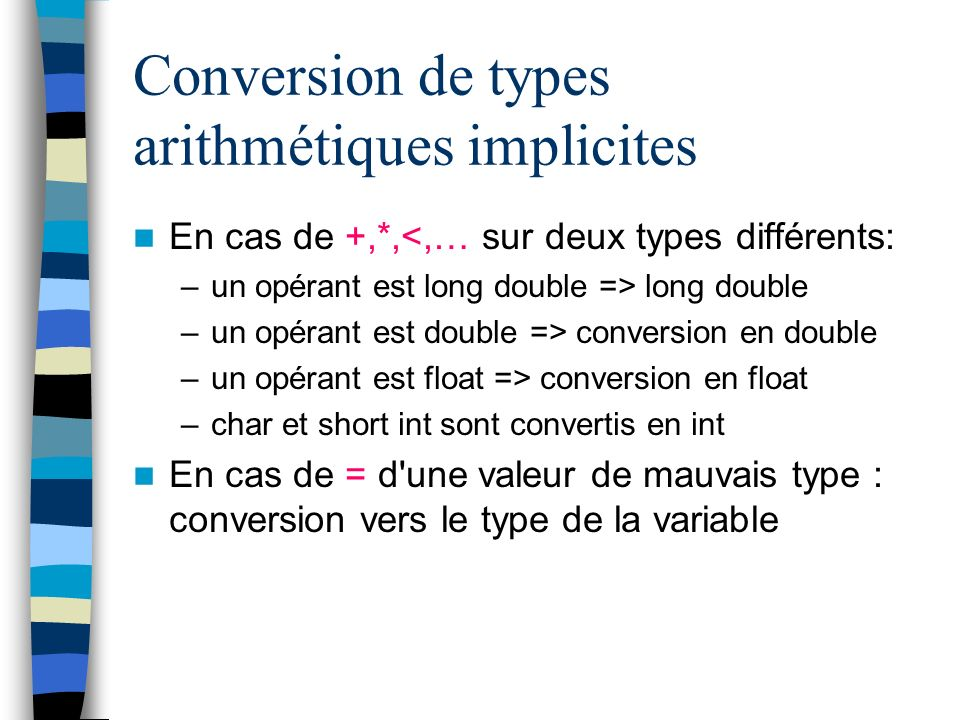 Conversion de types arithmétiques implicites