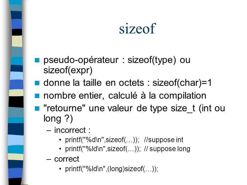 sizeof pseudo-opérateur : sizeof(type) ou sizeof(expr)