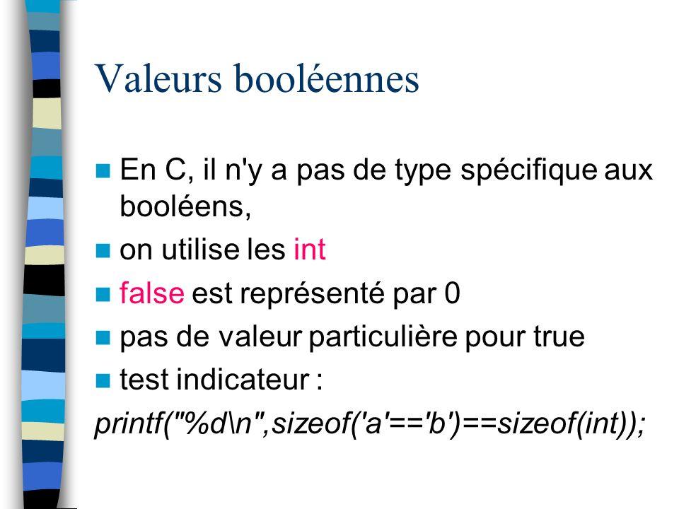 Valeurs booléennes En C, il n y a pas de type spécifique aux booléens,