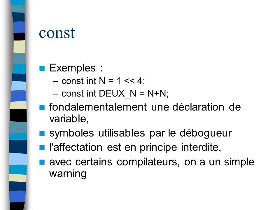 const Exemples : fondalementalement une déclaration de variable,