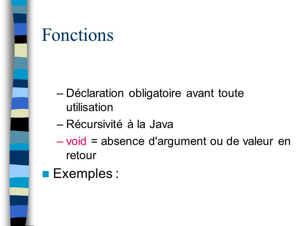 Fonctions Exemples : Déclaration obligatoire avant toute utilisation