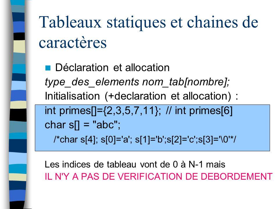Tableaux statiques et chaines de caractères